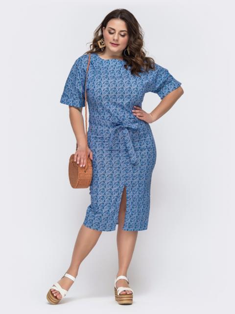 Голубое платье батал из хлопка с принтом 46005, фото 1