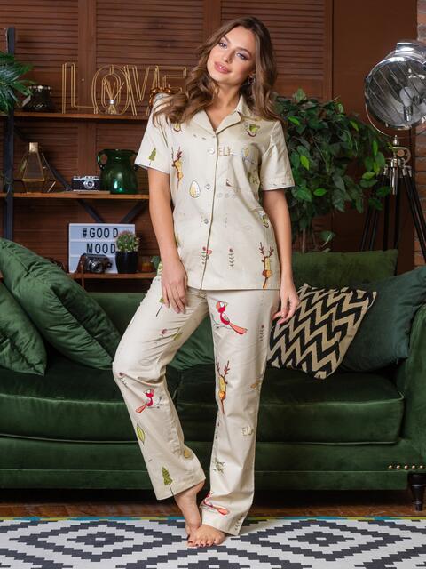 Хлопковая пижама с принтом на рубашке и брюках бежевое - 21284, фото 1 – интернет-магазин Dressa