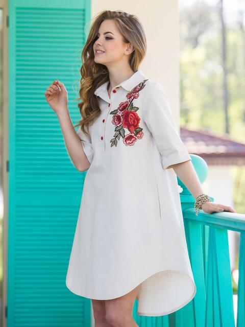 68ae3645fc9 Короткое платье-рубашка с нагрудной вышивкой белое 12519 – купить в ...