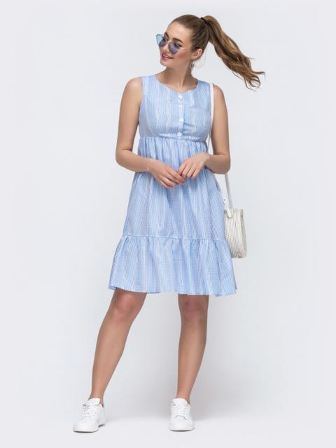 Расклешенное платье с завышенной талией голубое 48491, фото 1