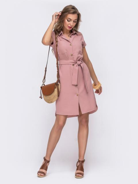 Розовое платье-убашка с удлиненной спинкой 48496, фото 1