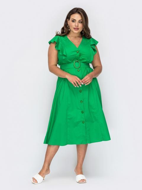 Зеленое платье батал с оборками и пуговицами 54013, фото 1