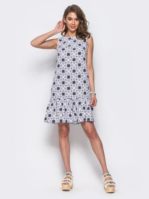 Белое принтованое платье с оборкой по низу - 11572, фото 1 – интернет-магазин Dressa