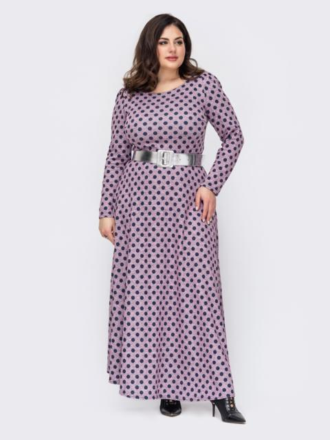 Длинное платье большого размера в горох пудровое 52772, фото 1