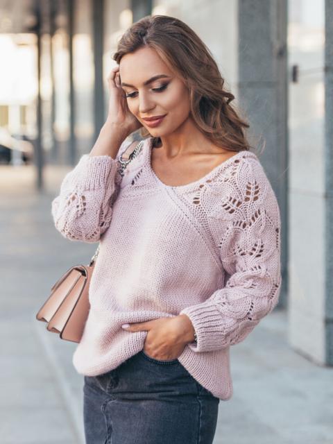 Джемпер с ажурными рукавами розовый - 13104, фото 1 – интернет-магазин Dressa