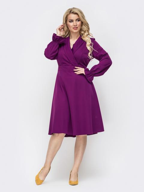 Фиолетовое платье большого размера с расклешенной юбкой 50877, фото 1