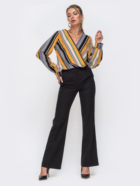 Комплект из блузки в полоску и брюк-клеш чёрный 49434, фото 1