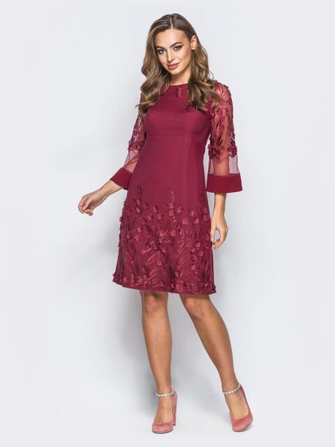 Платье бордового цвета с вышивкой на фатине - 18015, фото 1 – интернет-магазин Dressa