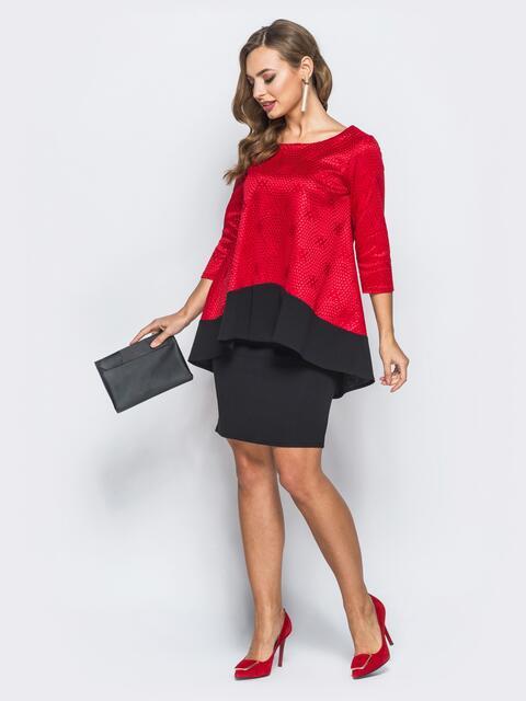 Платье черного цвета с туникой красного цвета - 18019, фото 1 – интернет-магазин Dressa