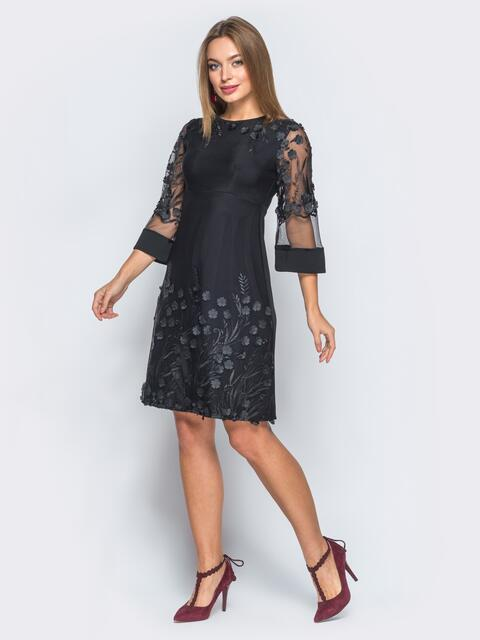 Платье черного цвета с вышивкой на фатине - 18017, фото 1 – интернет-магазин Dressa