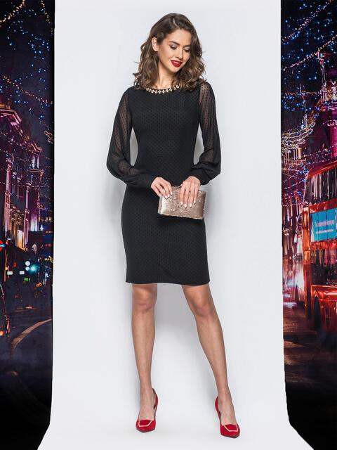 Платье из фактурного фатина с фурнитурой по горловине черное - 18013, фото 1 – интернет-магазин Dressa