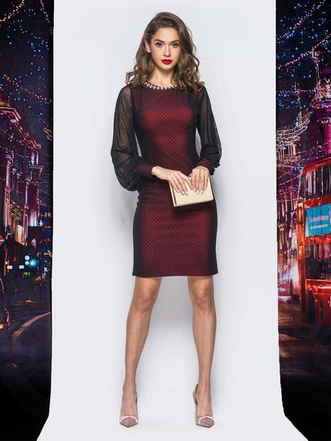 Платье из фактурного фатина с фурнитурой по горловине красное - 18012, фото 1 – интернет-магазин Dressa
