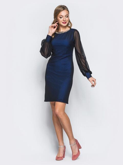 Платье из фактурного фатина с фурнитурой по горловине синее - 18011, фото 1 – интернет-магазин Dressa