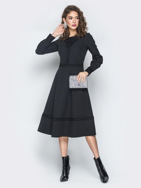 Платье из костюмной ткани с замшевыми вставками черное - 18487, фото 1 – интернет-магазин Dressa