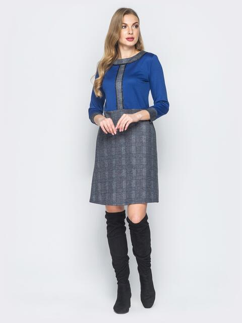 Платье из полированной ангоры с синим верхом - 18483, фото 1 – интернет-магазин Dressa