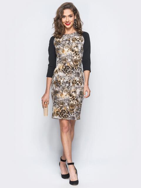 Платье с анималистичным коричневым принтом и рукавом реглан - 18025, фото 1 – интернет-магазин Dressa