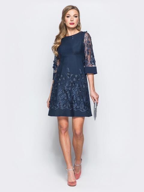 Платье тёмно-синего цвета с вышивкой на фатине - 18014, фото 1 – интернет-магазин Dressa