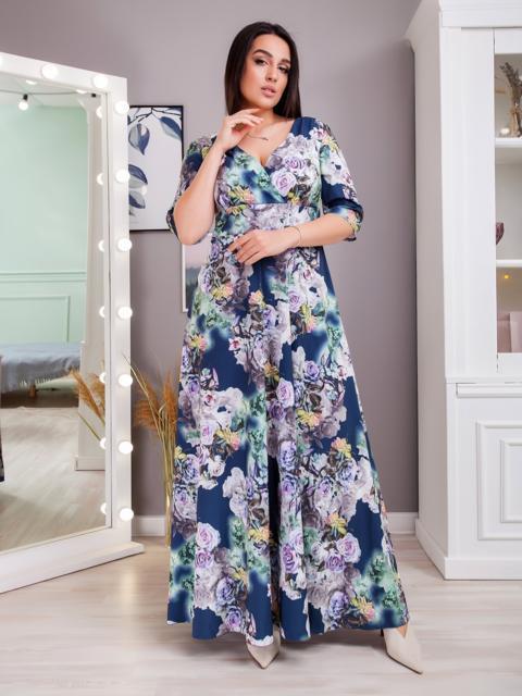 Платье в пол большого размера с принтом синее 48375, фото 1