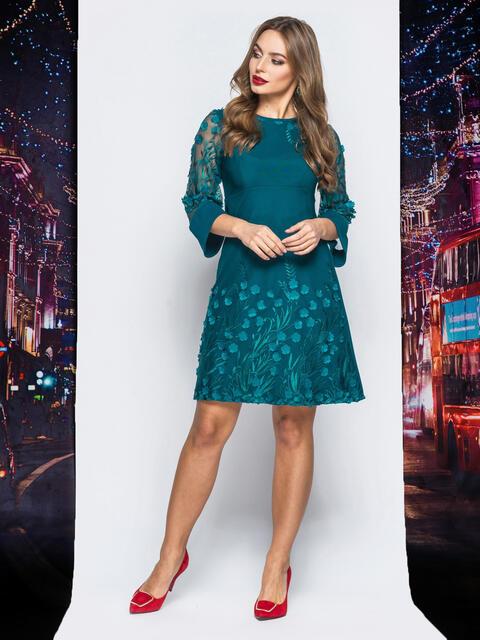 Платье зелёного цвета с вышивкой на фатине - 18016, фото 1 – интернет-магазин Dressa