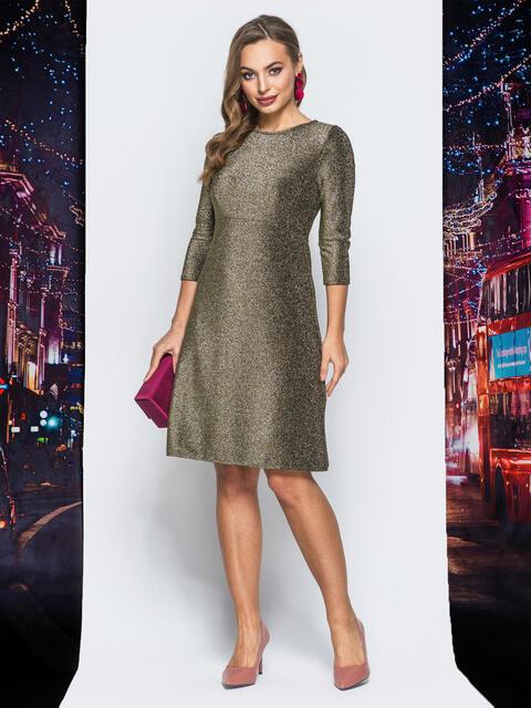 Платье золотистого цвета с люрексом - 18022, фото 1 – интернет-магазин Dressa