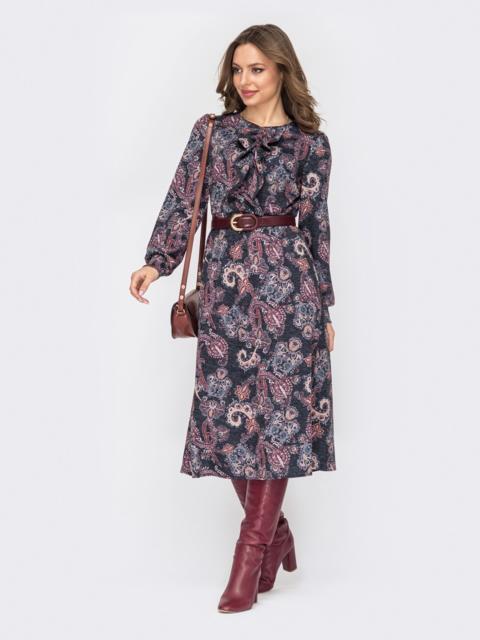 Принтованное платье с жабо и юбкой-трапецией черное 52936, фото 1