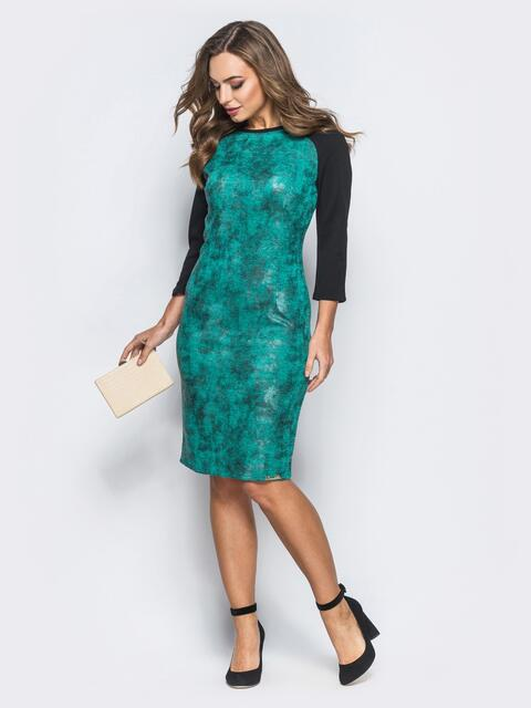 Принтованное платье зелёного цвета с рукавом реглан - 18028, фото 1 – интернет-магазин Dressa