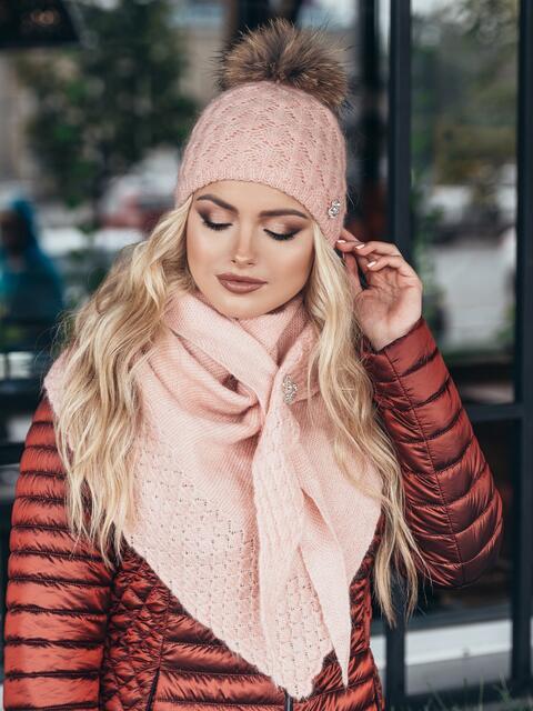 Розовый комплект с бактусом и шапкой - 15564, фото 2 – интернет-магазин Dressa
