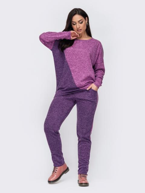 Теплый костюм большого размера с брюками фиолетовый 52770, фото 1