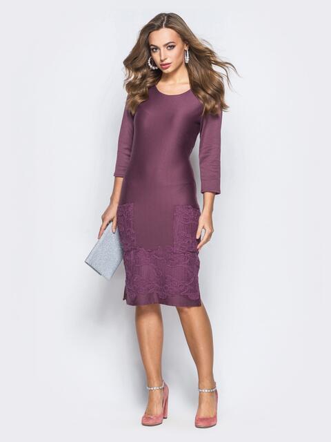 Трикотажное платье лилового цвета с накладными карманами спереди - 18033, фото 1 – интернет-магазин Dressa
