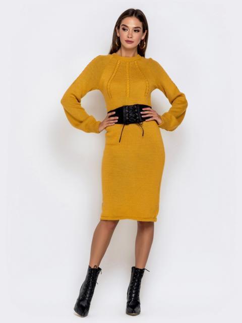 Вязаное платье-миди с косами по лифу горчичное - 41156, фото 1 – интернет-магазин Dressa