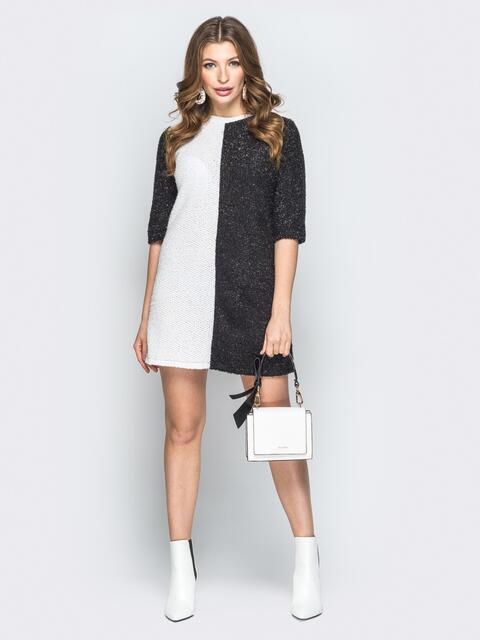 Чёрно-белое платье прямого кроя с люрексом - 19754, фото 1 – интернет-магазин Dressa