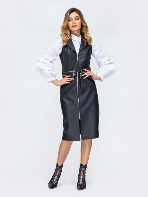 Чёрное платье из эко-кожи с молнией по длине - 44895, фото 1 – интернет-магазин Dressa