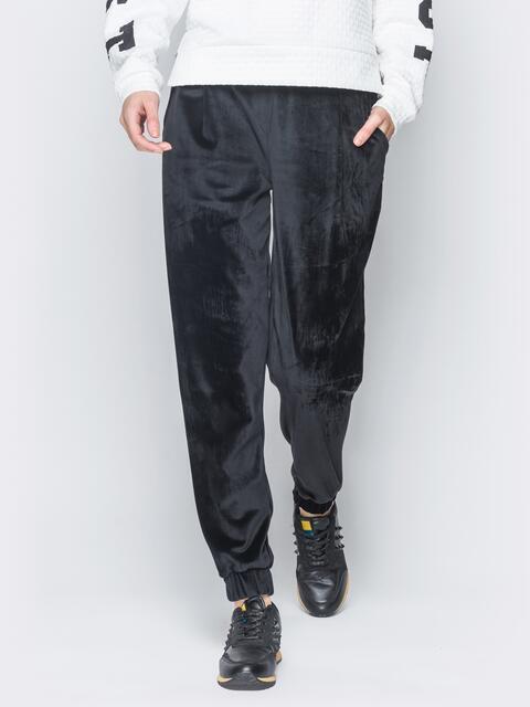 Черные велюровые брюки с резинкой на талии и манжетах - 18870, фото 1 – интернет-магазин Dressa