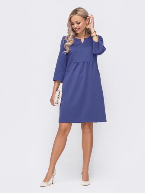 Фиолетовое платье прямого кроя с модельной кокеткой 50821, фото 1