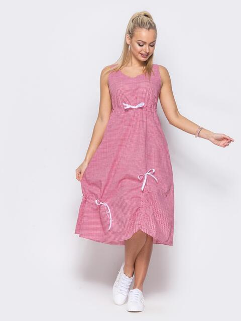 Хлопковое платье в красную клетку - 11472, фото 2 – интернет-магазин Dressa