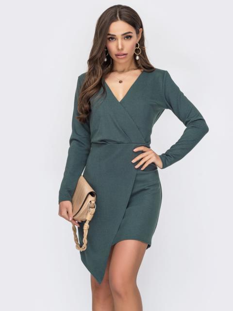 Платье-футляр с асимметричным низом зеленое 53639, фото 1