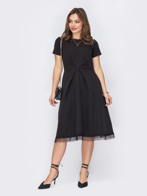 Платье с расклешенной юбкой и кружевом по низу черное 53637, фото 1