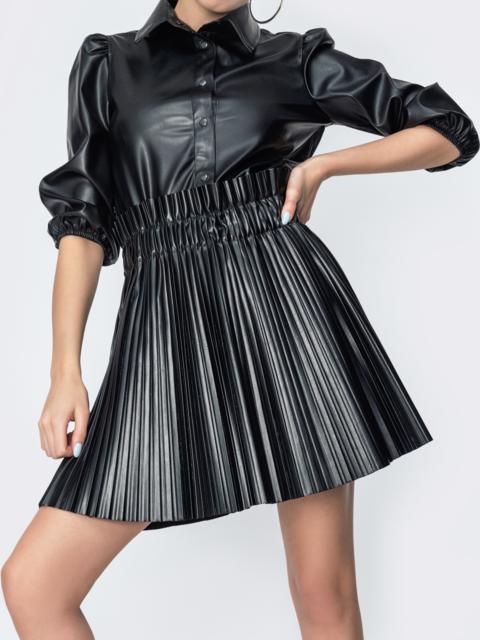 Плиссированная юбка из экокожи чёрная 44885, фото 1