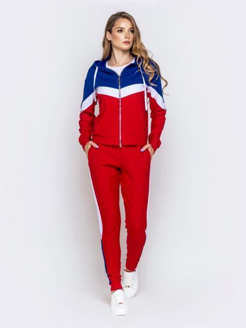 Спортивный костюм со вставками из кофты и штанов синий - 40515, фото 1 – интернет-магазин Dressa