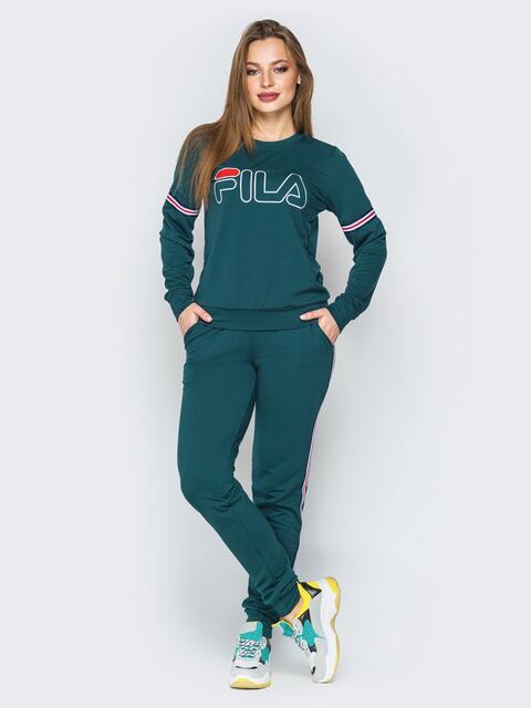Зелёный костюм с лампасами на свитшоте и брюках - 19800, фото 1 – интернет-магазин Dressa