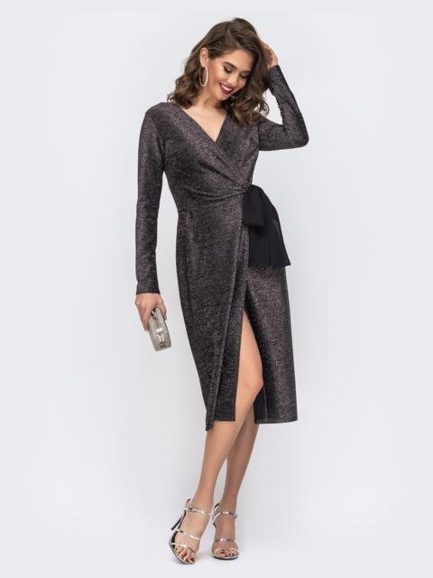 Чёрное платье на запах из люрекса с контрастными лентами 42634, фото 1