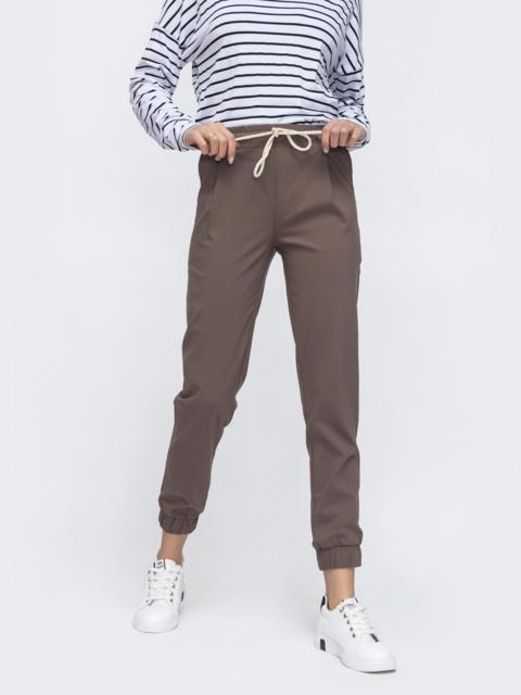 Бежевые брюки-джоггеры со стандартной посадкой 45620, фото 1