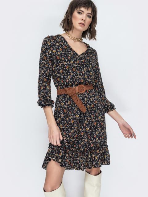 Чёрное платье с принтом и воланом по низу - 45065, фото 1 – интернет-магазин Dressa