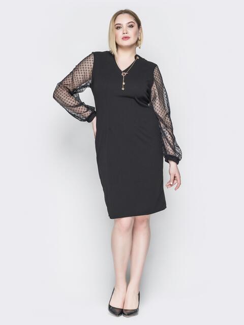 Чёрное платье с рукавами из фатина на манжете - 19963, фото 1 – интернет-магазин Dressa