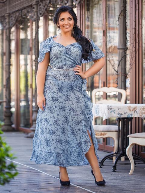 Приталенное платье батал с принтом голубое 48353, фото 1