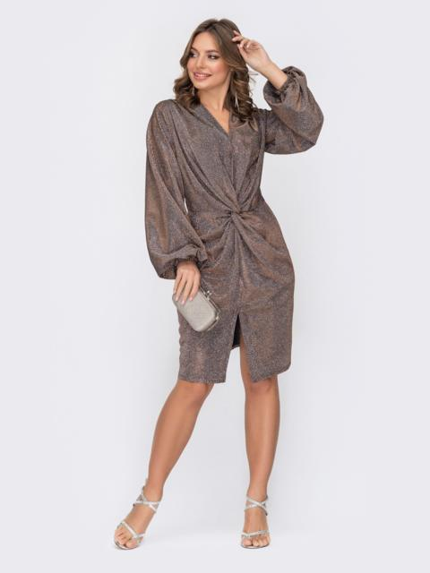 Приталенное платье с люрексом и разрезом спереди коричневое 52307, фото 1