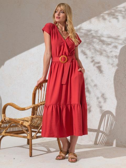 Расклешенное платье кораллового цвета с воланом по низу - 49367, фото 1 – интернет-магазин Dressa
