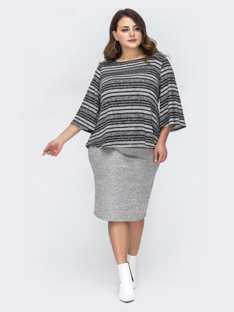 Серый комплект большого размера с блузкой в полоску 44436, фото 1