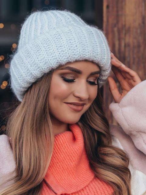 Вязаная шапка с подворотом голубая - 40381, фото 1 – интернет-магазин Dressa