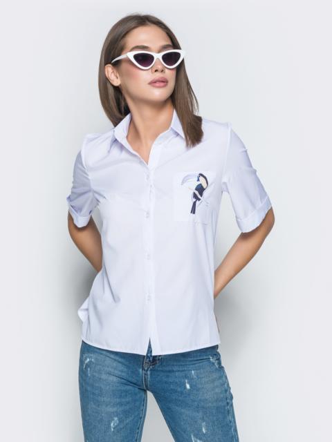 """Белая рубашка с авторским принтом """"тукан"""" - 38864, фото 1 – интернет-магазин Dressa"""